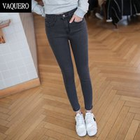 Wholesale Slimming Wear For Women - Wholesale- Basic 5-Pockets Mid Waist Skinny Jeans For Women 2016 Femme EASY TO WEAR Slim Fit Stretch Denim Pants Woman Black Gray Blue
