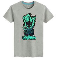 roupas legends league venda por atacado-Thresh T shirt O Cadeia Warden manga curta League of Legends tees Lol jogo de roupas de Algodão Dos Homens Tshirt