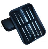 siyah nokta çıkarıcı akne temizleyici iğne toptan satış-Paslanmaz Çelik Siyah Nokta Remover Whitehead Comedone Akne Sivilce Leke İğne Çıkarıcı Remover Aracı Yüz Bakımı 5 adet / takım OOA2156