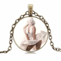 Wholesale Marilyn Monroe Accessories - Marilyn Monroe Pendant Necklaces Charm Chains Time gem glass Statement Vintage Stainless Steel Glass Cabochon Chain jewelry Accessories