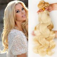 Wholesale platinum blonde hair extensions weft - #613 Platinum Blonde Body Wave Virgin Human Hair 3 Bundles Bleach Blonde Peruvian Human Hair Weave Extensions Dhl Free Shipping