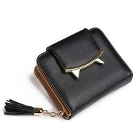 Wholesale Cute Lock Key - Wholesale- 2017 fashion tassels style cute Women Short Wallet with Metal Hasp Lock female Change Purse multi Card Holder Girls Clutch