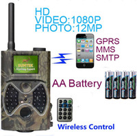 Wholesale Scout Camera Mms - HC300M 12MP 940nm NO Glow Trail Cameras MMS GPRS Digital Scouting Hunting Camera Trap Game Cameras Night Vision Wildlife Camera