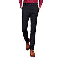 Wholesale Slim Fit Work Suit - Wholesale-Luxury Brand Men Pants Solid Black Gray Khaki Mens Business Work Trousers Male Men's Straight Slim Fit Casual Suit Pant Man Sale