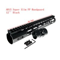 "Wholesale Handguard Free Floating - XWXS 12"" Inch NEW Free Float NSK AR15 Super Slim Handguard Top Rail KeyMod System FDE BK For AR-15 M4 M16"
