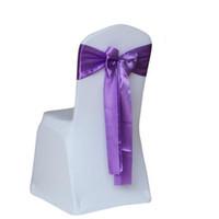 décorations en tissu de soie de mariage achat en gros de-Nappes en satin de tissu satin de soie de ruban de chaise de Pew de la décoration de mariage