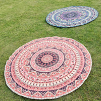 Wholesale Beach Towels Beige - Wholesale-1 pc Summer Large Printed Round Beach Towels swim Circle Beach Towels Bohemia Style Chic Woman Accessory yoga mat s3