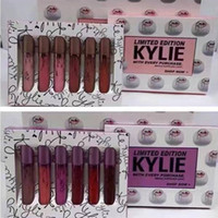 Hot Kylie Jenner Limited Edition 6pcs set rossetto liquido 12 colori rosa e viola Set Lipgloss cosmetico Kylie