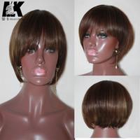 Wholesale human burgundy lace wigs - 8A Brazilian human hair short wigs straight None lace wigs short bob wigs for black women
