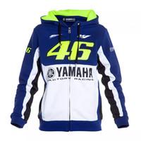 Wholesale Men Jacket Sweater Zipper - VR46 Men's Hoodie Long Sleeves Motorcycle Yamaha sports Racing Hoodies Bike Zipper Coats Jackets Men Sweater with Blue White