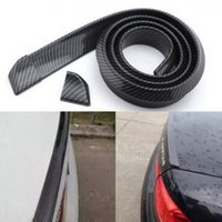 Wholesale Universal Car Spoiler - Universal car styling 3D Carbon Fiber 1.5meters Length Black PU Car Rear Roof Trunk Spoiler Wing Lip Sticker Kit Carbon Fiber Pattern