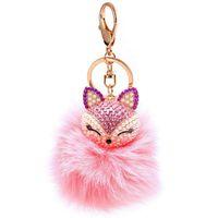 Wholesale Animal Fox Fur - 1pc New Cute Animal Fox Fur Ball Keychain Rhinestone Metal Key Chain Ring Bag Car Keyring for Women Girls Birthday Gift