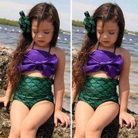Wholesale Swimwear Bow Knot - Children Kids 2 Pcs Princess Meimaid Swimwear Girls Bikini Set Swimsuit Hight Waist Fish Scale Bottom Bow Knot Swimwear