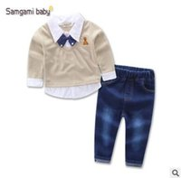 Wholesale Baby Boy Jeans Months - Ins Fake Blouse Shirt Vest Tops Jeans Pants 2 Piece Outfits Boys Outfits for Baby Boys Clothing Sets Kids Clothing Baby Clothes 2-7Y