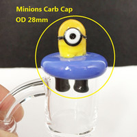 Wholesale Minions Dhl - UFO Glass Minions Carb Cap OD 28mm Solid Colored Bubble Carb Caps for Thermal P Quartz banger Nails Over 100Pcs free DHL