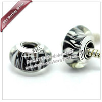 Wholesale Murano Stripe - S925 Sterling Silver jewelry Brown zebra stripes Murano Glass charms Beads Fit European pandora DIY Bracelets & Necklace