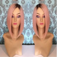 Wholesale Bob Strap - short bob glueless lace front wig 1b# dark pink for african americans150%with combs&straps