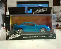 Brand New JADA Scala 1/32 Fast Furious Brian's Nissan Skyline GT R (R34) Pressofuso in metallo Car Model Toy