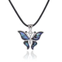 Wholesale Retro Butterfly Necklace - Cartoon Silver Plated Carved Butterfly Abalone Shell Retro Bohemian Rhinestone Pendant Brass Buckle Black Korea Wax Necklace Best Gifts
