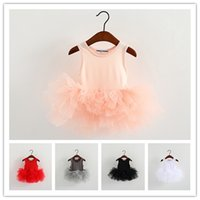 Wholesale Dancing Ballerina - Girls ballerina skirt infants kids sleeveless Dance dress baby vest tutu dress for 1-7T
