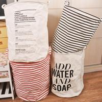 sacos de lavanderia brancos venda por atacado-Branco Tecido De Algodão Dobrável Cesto de Roupa Suja Hamper Organizador de Roupas Saco de Lixo 19