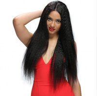 Wholesale long kinky straight lace wig - Kinky Straight Full Lace Wigs Natural Hairline with Baby Hair Peruvian Pre Plucked Lace Front Human Hair Wigs FDSHINE