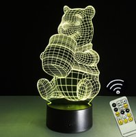 Wholesale Cute Winnie Pooh - Touch Remote Control Cute Winnie the Pooh Bear Night light LED 7 Colors Change Acrylic Sculpture Desk Lamp Gift For Children Room Decoration