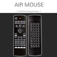 mouse android 3d venda por atacado-MX3 voar air mouse 2.4 GHz tv android sem fio caixas de teclados de teclado X8 air mouse remoto 3d somatossensorial aprendizagem IR 6 eixos backlit teclado