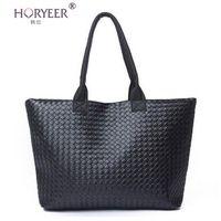 Wholesale cheap wholesale tote handbags - Wholesale-sac a main femme Weave Handbag Hot Women PU Leather Cheap Handbag Tote Shoulder Bags Large Capacity PU Weave Bags Fashion Design