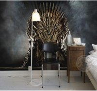 Wholesale Iron Children - Game of Thrones Wallpaper Iron Throne Wall Murals Custom Photo Wallpaper Children room Silk Wall Art Room decor Bedroom Home Art