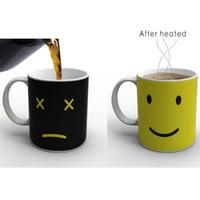 sıcak bardak rengi toptan satış-Isı Değiştirme Kupa Renk Fincan Kahve Duyarlı Ev Ev Sihirli Çay Sıcak Reaktif Soğuk Seramik Kahve Çay Bardağı