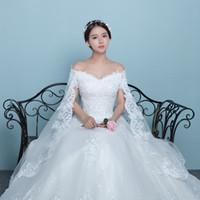 photos de mariage coréen achat en gros de-Nouvelle arrivée de style coréen châle en dentelle col en V creux dos gras femmes robes couvrent les bras robe de mariée
