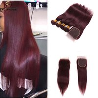 Wholesale Long Dyed Red Hair - Burgundy lace front with bundles Brazilian hair 4 pcs bundles with closure wine red weaves closure long soft straight human hair extension