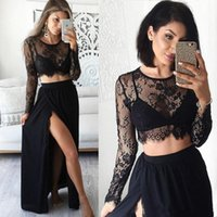 Wholesale Black Chiffon Top Long Sleeve - Two Piece Black Side Split Prom Dresses 2017 Sexy Sheer Lace Top Long Sleeve Evening Party Formal Woman Chiffon Gowns