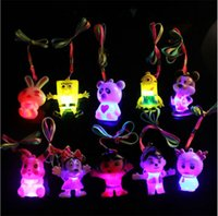 Wholesale Penguin Loves - Flashing LED Pendant Kids Necklace Silicone White Cloud Penguin Monkey Dolphin Panda Pattern Pendant Necklace Random Delivery