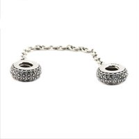 Wholesale Sterling Silver Bracelet Safety Chains - Fits Pandora Bracelets Pave Inspiration Safety Chain Silver Beads 100% 925 Sterling Silver Charms DIY Jewelry