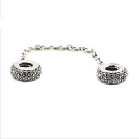 Wholesale Safety Chains Fit Bracelet - Fits Pandora Bracelets Pave Inspiration Safety Chain Silver Beads 100% 925 Sterling Silver Charms DIY Jewelry