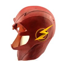 Wholesale THE FLASH Allen Cosplay Helmet Prop Halloween Full Face with Zipper Helmet Red Latex Movie Cosplay Mask