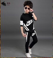 Wholesale Kids Sports Jackets - 2017 Spring Autumn children's clothing set kids sport suits jogging tracksuit boys sweatshirt pants girls hooded jacket hoodies