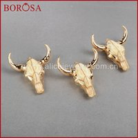 Wholesale Cattle Bull - ashion Jewelry Pendants BOROSA Fashion buffalo Head bead ,Gold Color Bull Cattle Charm Bead Longhorn Resin Horn Cattle Pendant for Jewelr...
