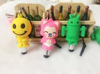 Wholesale touch screen pen for laptop - Free Ship 50pcs Cartoon Cute Touch Pen For Smartphone Laptop Tablet Penna Con Stylus Screen Touch With Phone Strap Dust Plug