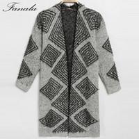 Wholesale knitting beautiful sweaters - Wholesale- Autumn Winter Knitted Cardigans Coat Women FANALA 2016 Fashion Long Sleeve Poncho thick Sweater Beautiful Woman Crochet Cardigan