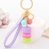 Wholesale Wedding Party Favor Keychains - Macarons Cake Key Chain Hide Rope Pendant Keychains Car Keyrings Wedding Party Favor and Gifts DHL Free Shipping
