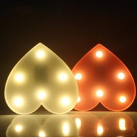Romantic Marquee Light Heart Shap Led Night Light Bateria Power Table Lamps Para Valentine Aniversário Gift Wedding Party Home Decor