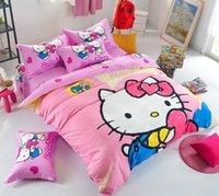 Wholesale Christmas Comforters Blue - Pink Blue girl Cartoon 3 4pcs Bedding set Twin  Full  Queen  Size Bed Linen   Bed Sheet Duvet Cover For Christmas   4 3 Pcs Bedclothes Sets