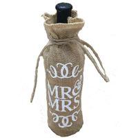 Wholesale Bottle Recycling - Wholesale- Mr.& Mrs Jute Burlap Wine Bottle Cover Gift Bag Wedding Christmas Party Decoration AA8008