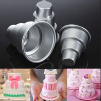 Wholesale Mini Pan Set - Special DIY Mini 3 Tier Cake Pan Tins Cupcake Pudding Pizza Mould Cake Trays Party Home birthday