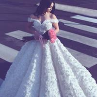 Wholesale Vintage Pretty Bridal - 2017 Said Mhamad Pretty Wedding Gowns Sexy Off Shoulder 3D-Floral Appliques Charming Bridal Dresses Latest Fashion A Line Wedding Dresses