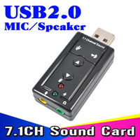 Wholesale Mic Converter - External USB VIRTUAL 7.1 Channel 3D Speaker Audio Microphone Sound Card Mic Adapter 3.5mm Jack Stereo Headset Converter