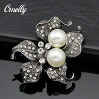 Retro Style Starfish Zinc Alloy Rhinestone Crystal Faux Pearls Broches Pins Vintage Look Flower Wedding Cake Brooch Atacado a granel